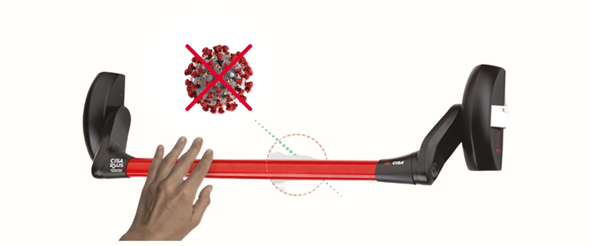 maniglione antipanico che respinge il virus